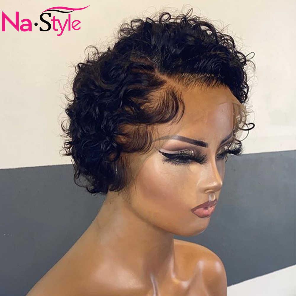 Peluca de corte Pixie, peluca de cabello humano ondulado con agua, pelucas de cabello humano corto blanqueado, nudos 13x4, peluca con malla frontal con cabello de bebé Remy 150%