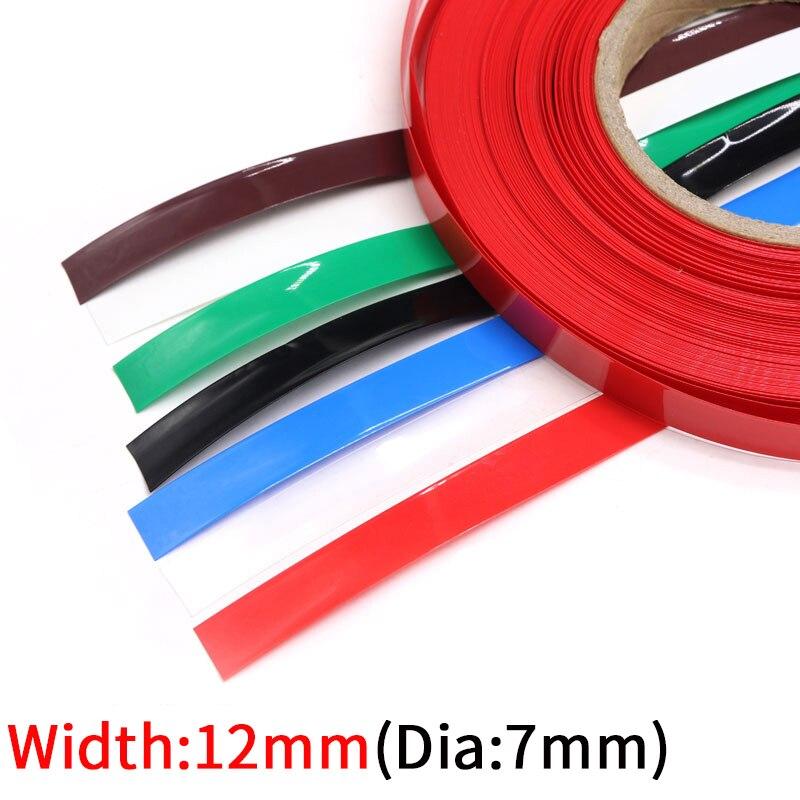 5M genişliği 12mm PVC ısı borusu Shrink Dia 7mm lityum pil yalıtımlı streç Film koruma çantası paketi tel kablo kılıfı renkli