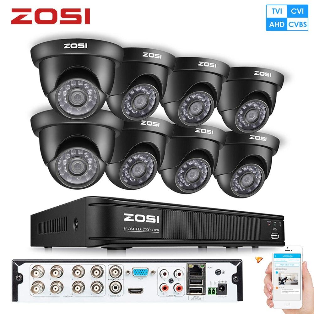ZOSI 8CH 1080N 720P 4-en-1 TVI CVBS AHD CVI vidéo Surveillance DVR Kit vision nocturne sécurité balle maison caméra CCTV Kit système