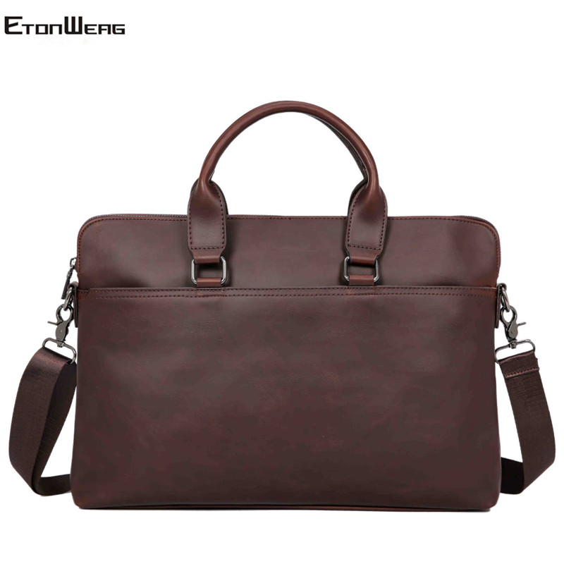 Vintage Men's Briefcase Large Solid Computer Laptop Handbag Business Office Tote Male Waterproof Leather Shoulder Messenger Bags