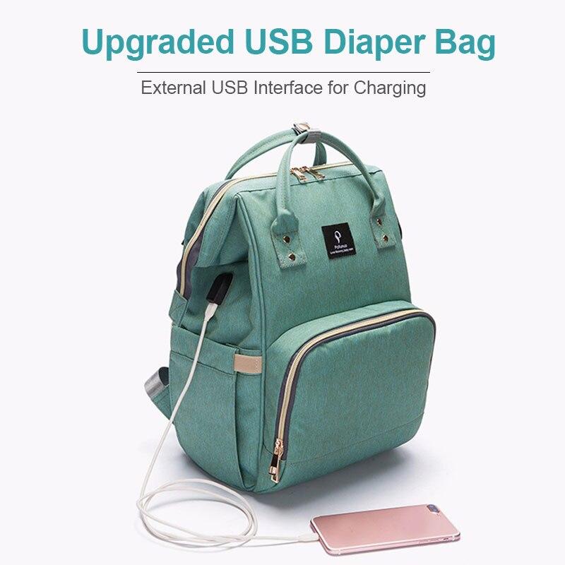 Ha1ac874443e245769956b19d1a40345aD Diaper Bag With USB Interface Large Capacity Travel Backpack Nursing Handbag Waterproof Nappy Bag Kits Mummy Maternity Baby Bag