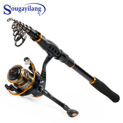 Sougayilang Portable Fishing Pole and Reel Combos - Carbon Fiber  Telescopic Travel Spinning Rod and 13+1bb  Spinning Reel Set