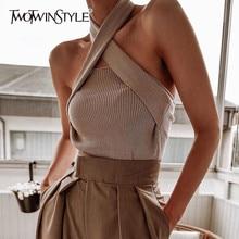 TWOTWINSTYLE elegancki bez rękawów Sexy kobiety sweter Halter Off ramię Slim, dziany topy kobiet moda lato 2020 ubrania fala