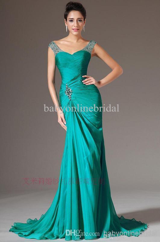 Free Shipping Robe De Soiree 2019 New Fashion Beading Green Long Vestido De Festa Party Gown Elegant Mother Of The Bride Dresses
