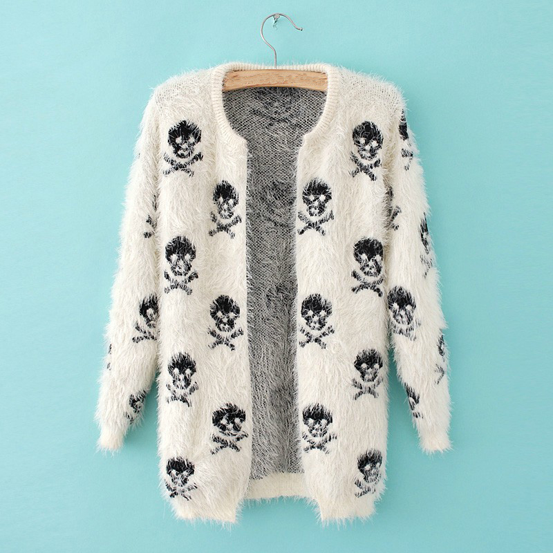 Autumn Winter Women Skull Wweater Warm Long Sleeve Knit Wool Hippocampus Loose Skull Sweater Coat Cardigan Calavera