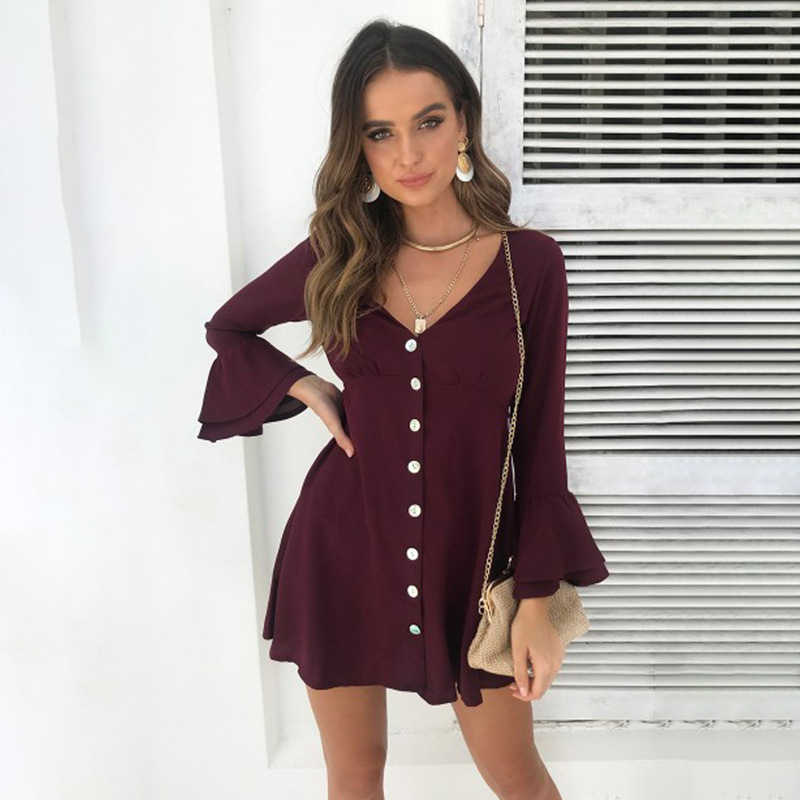 Новая мода осень зима платье Сексуальная кнопка платье женские платья элегантные платья женские вечерние платье с рукавом с рюшами платья