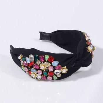 Pearl Flower Crystal Rhinestone Top Knotted  Headbands 5