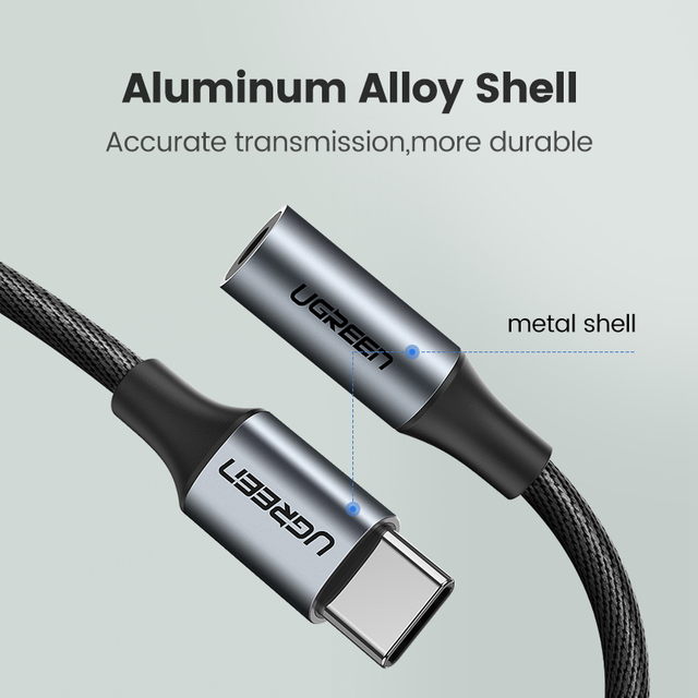 Ugreen tipo c 3.5 jack fone de ouvido usb c para 3.5mm aux fones adaptador cabo áudio para huawei v30 companheiro 20 p30 pro xiaomi mi 10 9