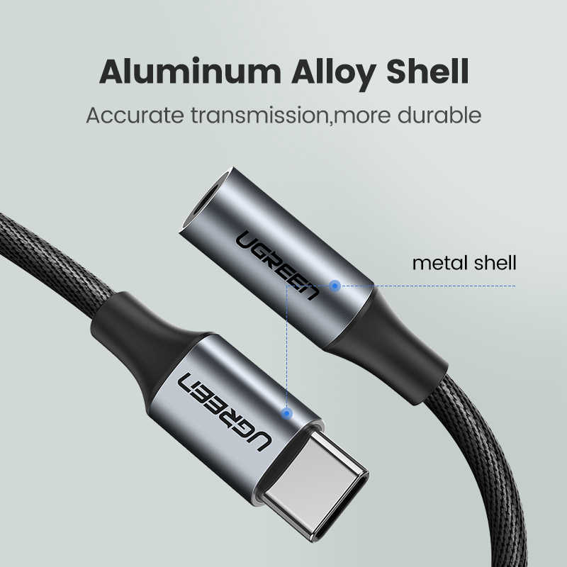 Ugreen typ C 3.5 gniazdo słuchawkowe USB C do 3.5mm AUX słuchawki Adapter do Huawei mate 20 P30 pro Xiao mi mi 6 8 9 SE kabel Audio