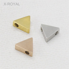 X-ROYAL 10Pcs/lot Stainless Steel Double-sided Mirror Polishing Loose Beads 9*8mm Triangle Shape Double Hole DIY Metal Bulk Bead