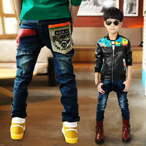 Image 2 - 2020 winter childrens clothes boys jeans casual slim thicken fleece denim baby boy jeans for boys big kids jean long trousers