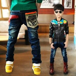 Image 2 - 2020 winter kinder kleidung jungen jeans beiläufige dünne verdicken fleece denim baby jungen jeans für jungen große kinder jean lange hosen