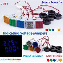 Цифровой светодиодный вольтметр 22 мм Круглый квадратный двойной