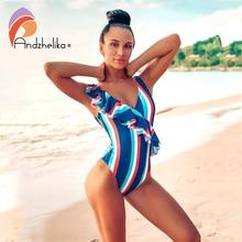 Andzhelika セクシーなワンピース水着の女性 2020 新ファルバラ V ネック水着フリルモノキニ女性ビーチ水着モノキニ
