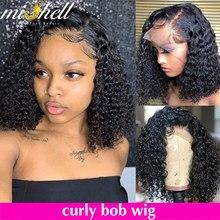 Mishell encaracolado curto bob 13x4 frente do laço perucas de cabelo humano preplucked para preto feminino onda de água profunda kinky frontal peruca virgem