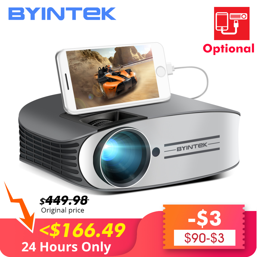 Venda de afastamento 149 $ BYINTEK Marca LUA M7 200 polegada Vídeo HD LED Projetor de Home Theater para O Iphone Smartphones Full HD 1080P