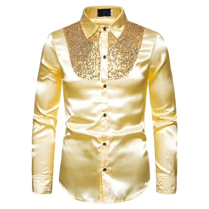 LvBa Hot Men Shirt Slim Fit Long Sleeve Spring Autumn Tuxedo Shirt Paillette Men Casual Party Stage Nightclub Mens Dress Shirts