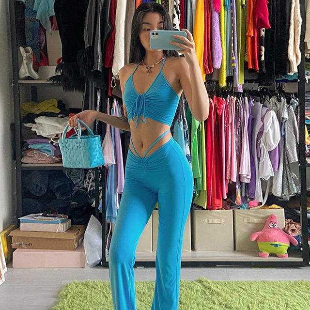 Vamos Todos 21S Hot Solid Crop Tank Shirring Neck Sling Two Pieces Sets Women Pants Outfit Sexy Tracksuits Casual Girls Leggings 2