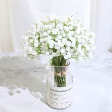 Casamento artificial branco gypsophila flores diy buquê decoração arranjo romântico bebês de plástico respiração falsa flor decoração para casa