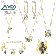 AYOO SWA High Quality 1:1 2019 New Vintage Butterfly Beetle Shiny Crystal Elegant Necklace Earring Bracelet Set Ms. ea1687 ghana 2012 butterfly stamp 1 1 m new 1120 ms