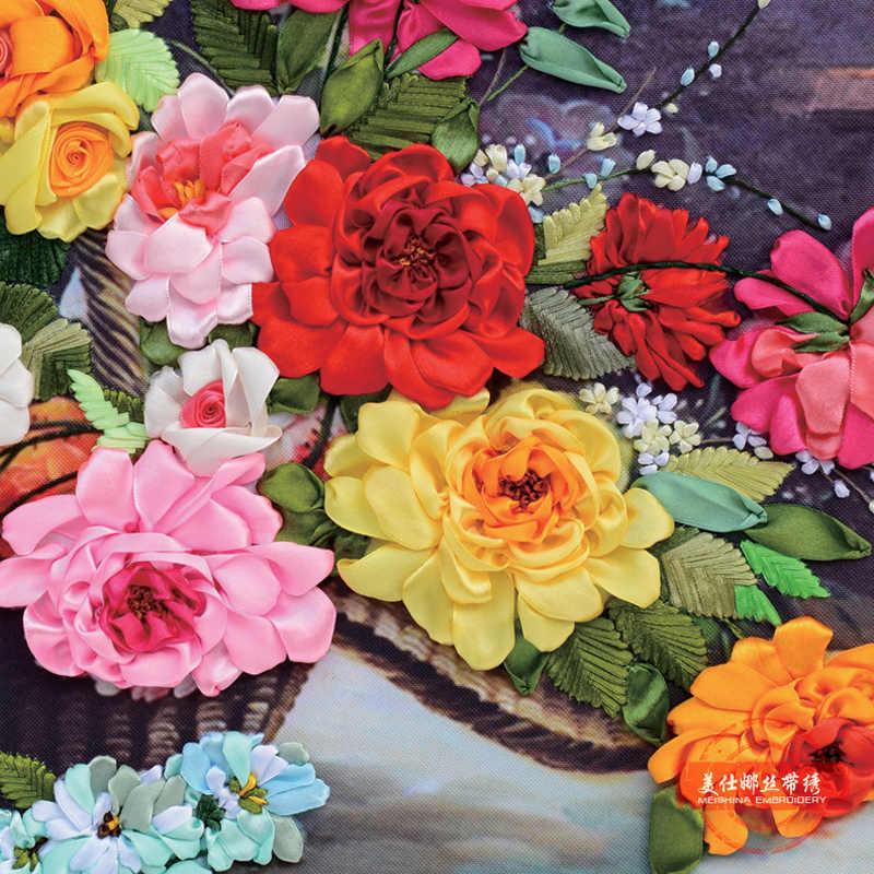 شرائط ثلاثية الأبعاد التطريز مجموعة ، diy بها بنفسك اللوحة الزخرفية الزهور HD يطبع الإبرة الحرف عبر الابره عدة الخياطة ديكور فني للمنزل