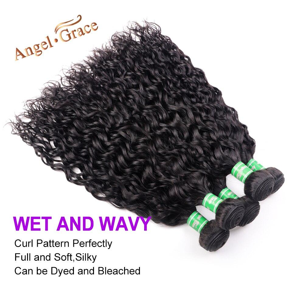 Ha1adf015f52c4286955b9f98362858629 AngelGrace Hair Water Wave Bundles With Closure Remy Human Hair 3 Bundles With Closure Brazilian Hair Weave Bundles With Closure