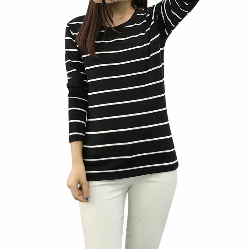 新しい Tシャツ女性の韓国語バージョンルースストライプ長袖 O ネック底入れ Tシャツカジュアルトップス Poleras Camiseta トップ女性 Tシャツ