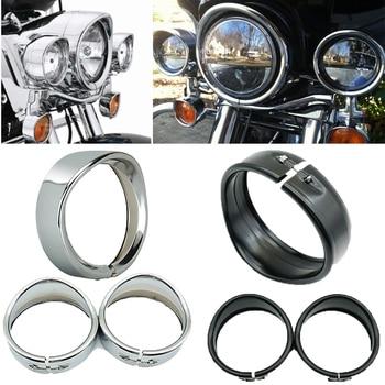For Harley Touring FLD Road King Electra Glide Trike Motorcycle 7'' Headlight Trim Ring 4.5inch Fog light virsor Trim ring Bezel