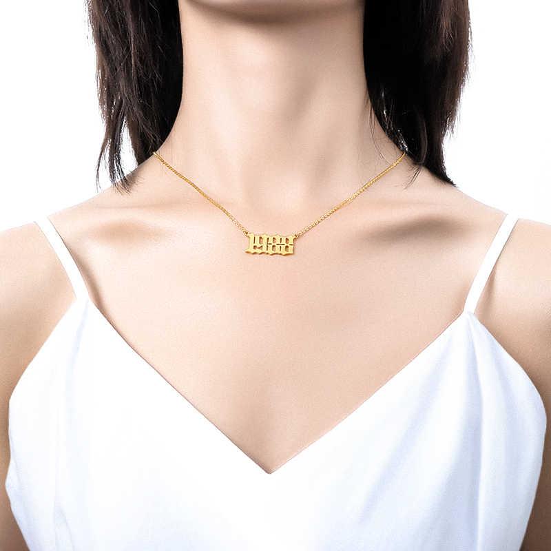 الميلاد سنة قلادة ل الفولاذ المقاوم للصدأ للنساء الذهب اللون سنة عدد حلية ذهبية القلائد 2019 موضة Bff مجوهرات هدية