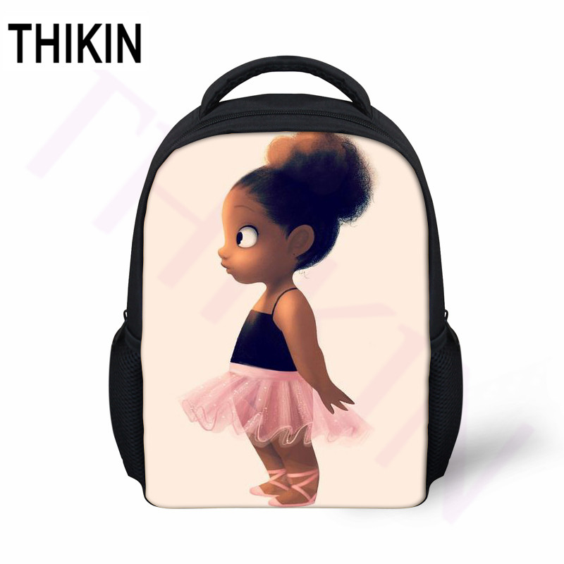 THIKIN Boys Girls Mini School Bags Ideal Career African American Black Art Girl Printing Baby Toy Kindergarten Students Bookbag