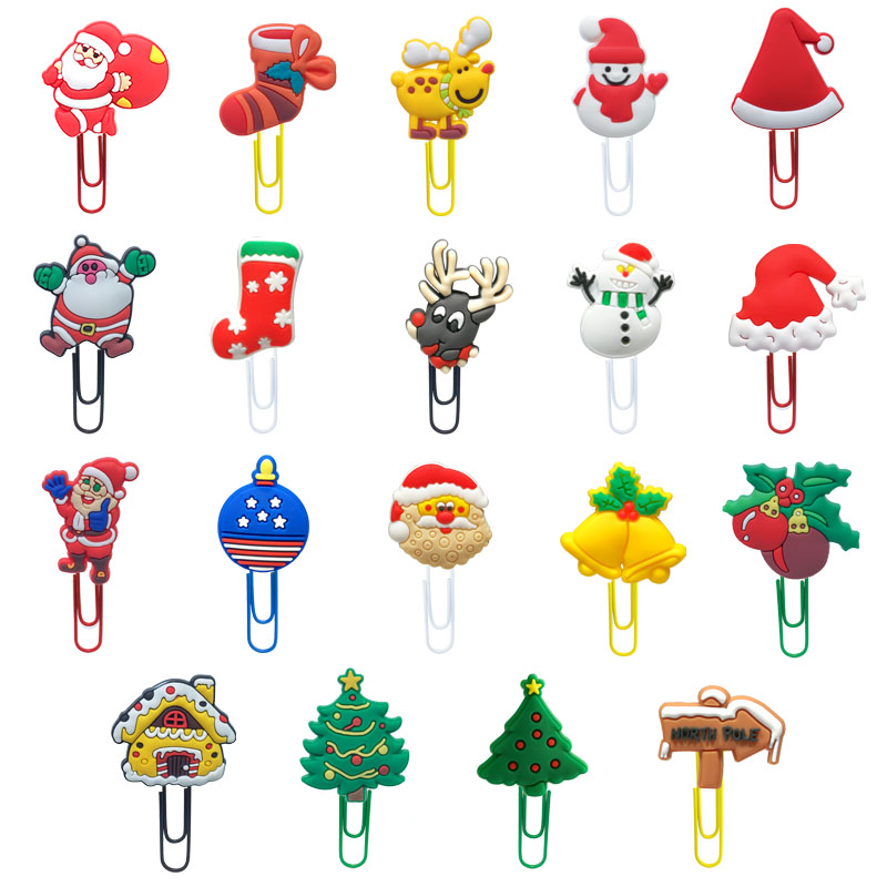18pcs Classic Christmas Bookmarks Snowman Paper Clips  Santa Clause Page Holder For School Teacher Stationery Xmas Party Gift