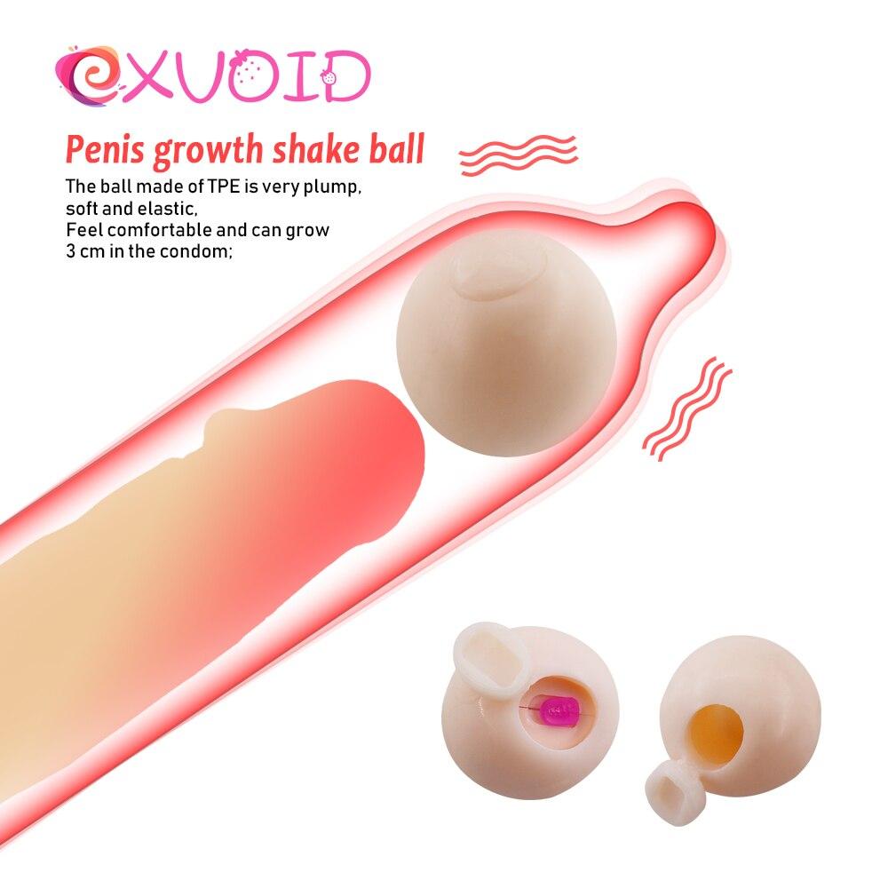 EXVOID Reusable Intimate Goods Vibrator Penis Extender Beads Penis Sleeve Extender Enlargement Soft Head Condom Attachment Ball