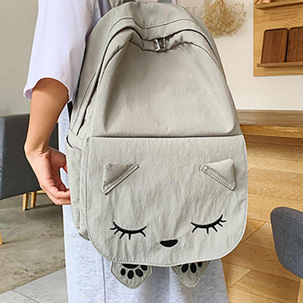 Kadın sırt çantaları naylon moda katı renk kedi sevimli fermuar eğlence seyahat çantası büyük kapasiteli seyahat sırt çantası kadın Mochila Au26