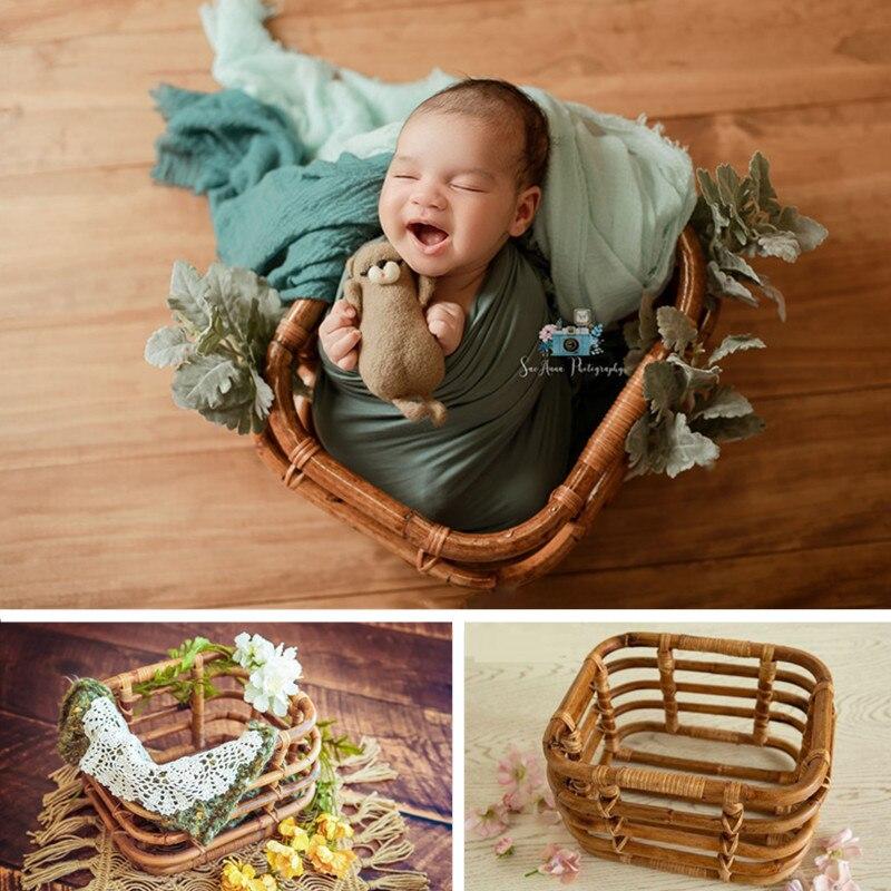 Baby Junge Foto Requisiten Woven Korb Requisiten für Fotografie Studio Fotografie Zubehör Vintage Neugeborenen Prop Hintergrund Möbel