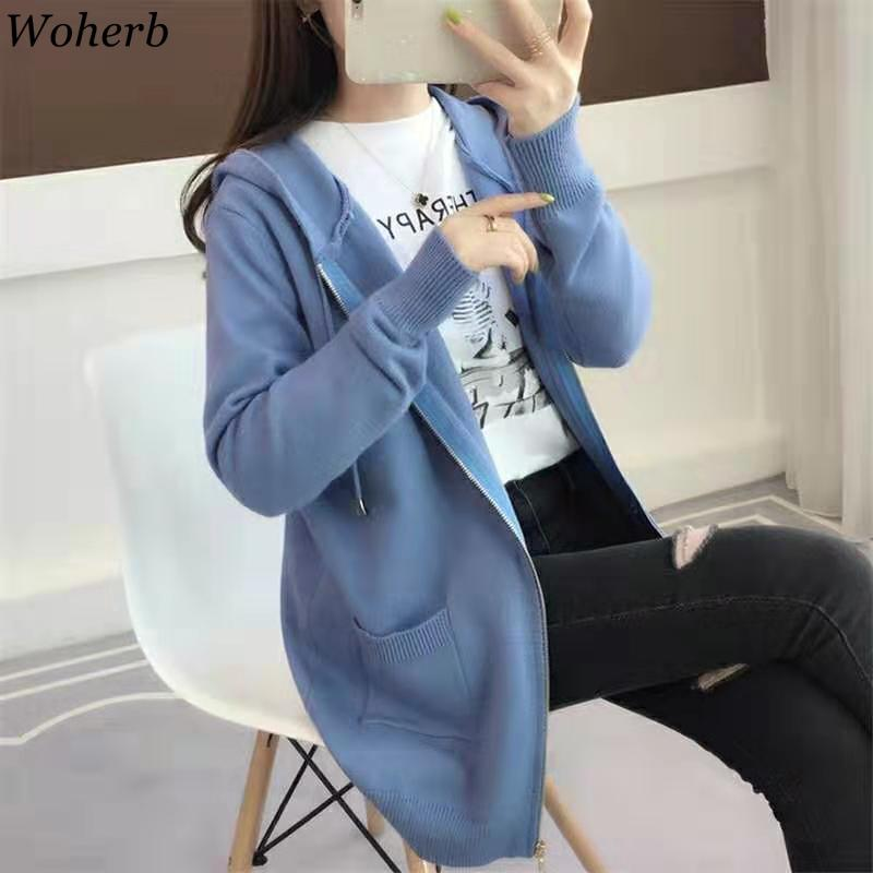 Woherb Korean Fashion Sweater Women Zipper Solid Color Hooded Cardigan Tops Autumn Winter Clothes Knitwear 2019 New Style 91073