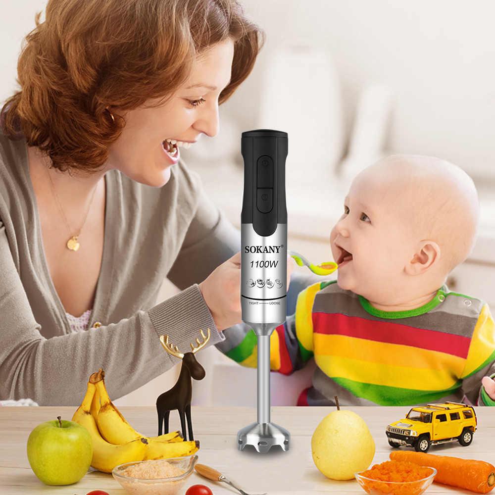 Кухонный Электрический блендер, 2 скорости, из нержавеющей стали, 1100 Вт, для фруктов, овощей, орехов, соков, смузи, детский миксер, портативные блендеры