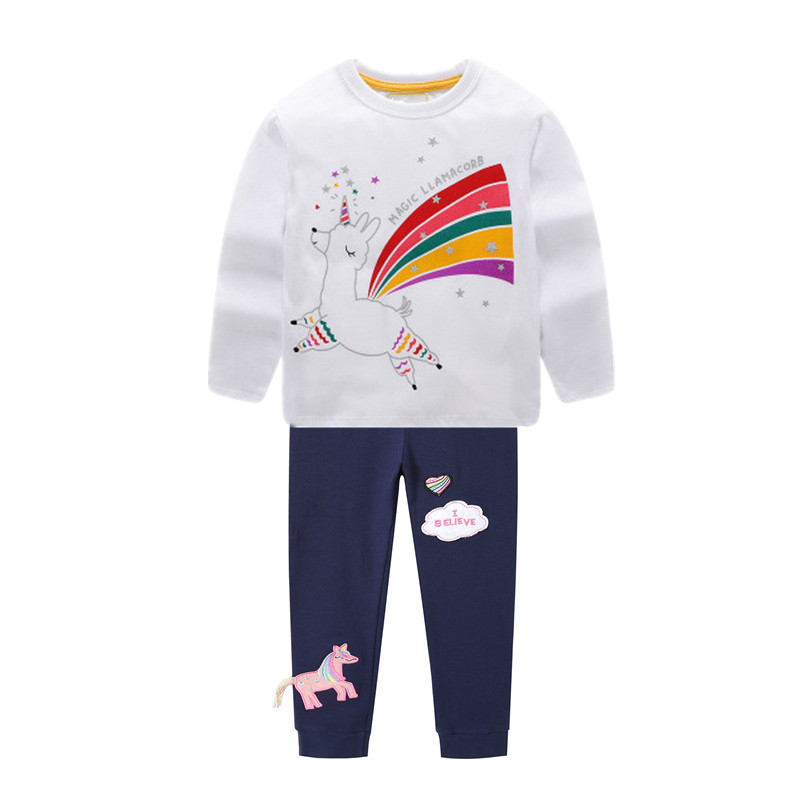 VIDMID girls cotton clothing set kids cartoon t-shirt and pants baby girls long sleeve clothing suits children clothes sets W01 5