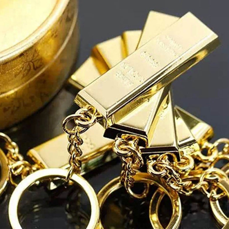 1pc Metal Gold Bar Golden Brick Keychain Creative Keyfob Keyring Gift free shipping
