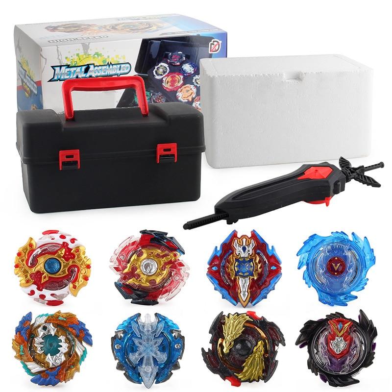 Tops Set Launchers Beyblade Burst Toys Fusion Fighting Gyro Arena Set Metal God Fafnir Spinning Top Blades Toy Storage Box Set(China)