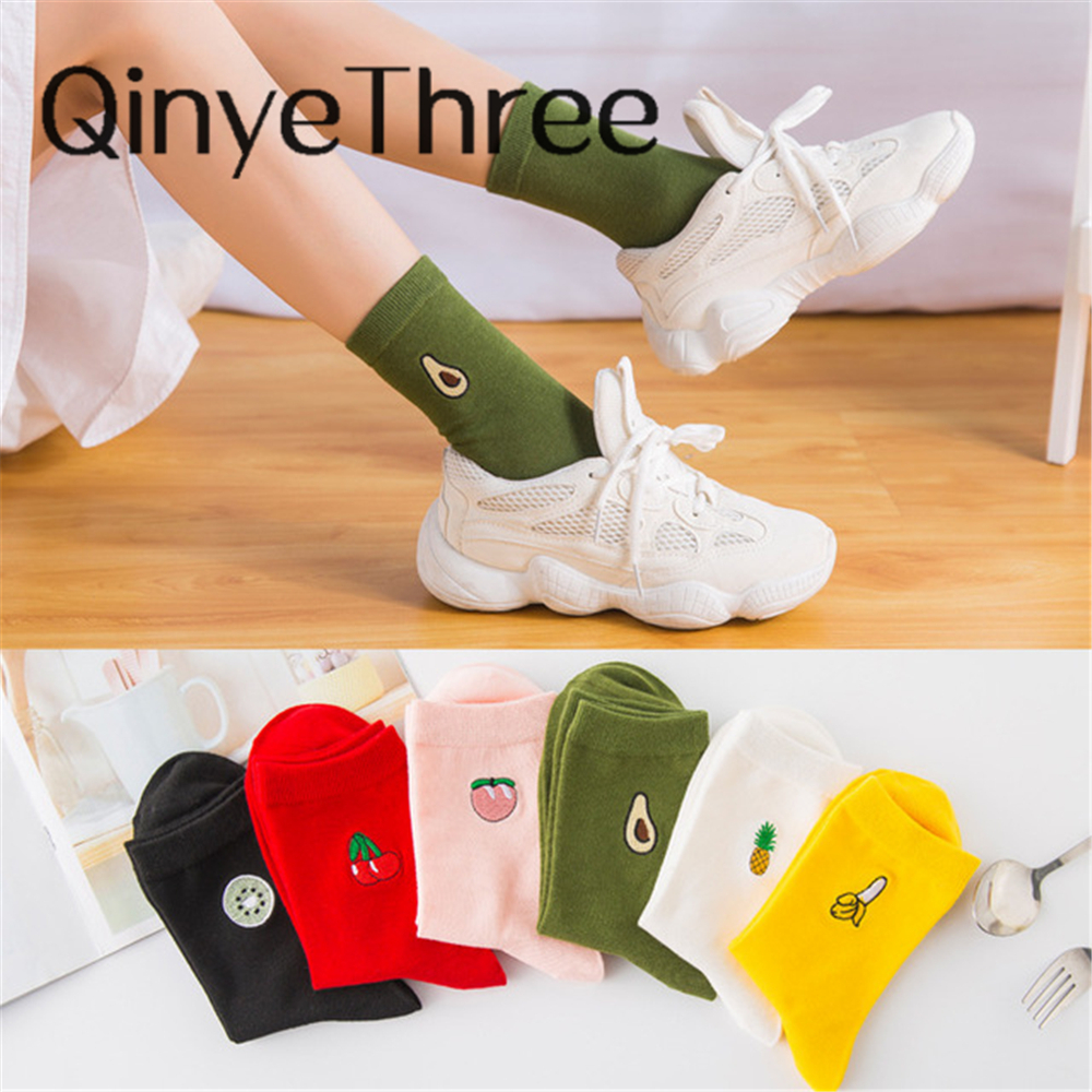 INS Girls Embroidery Cute Cartoon Fruit Avocado Banana Cherry Peach Kiwi Pineapple Socks Japanese Korean Harajuku Funny Sox