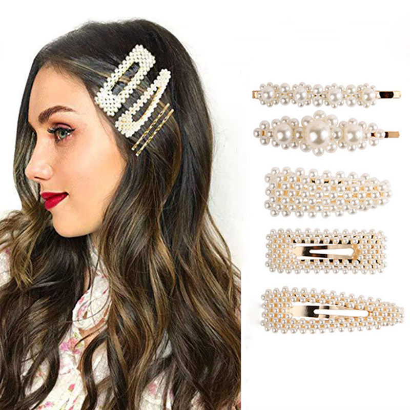 New Korean Women Pearl Hair Clip Snap Hair Barrette Stick Hairpin Hair Styling Tool Headband Hair Accessories For Women Girls