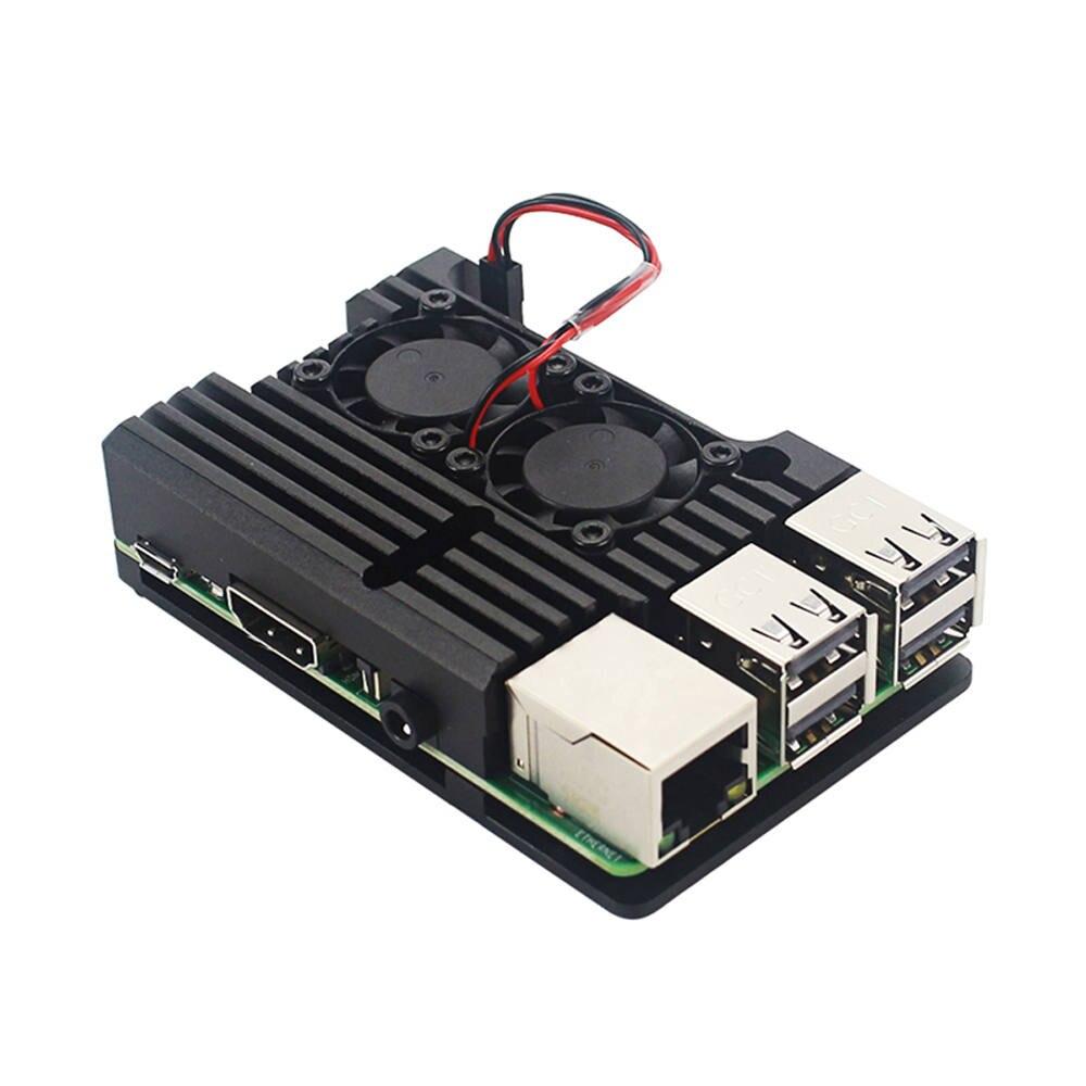 Metal Case For Latest Raspberry Pi 4 Model B LPDDR4 2G/4G  Quad-core Cortex-A72 (ARM V8) 64-bit 1.5Ghz Dual 4K HDMI Output Power