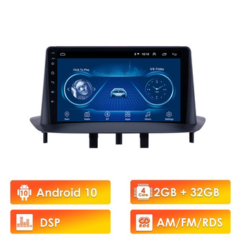 2G+32G Android 10 RDS DSP 2 Din Car Radio multimedia player navigation GPS stereo For renault megane 3 renault fluence image