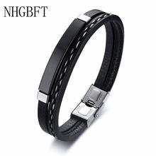 Nhgbft черные двойные кожаные браслеты для мужчин аксессуары