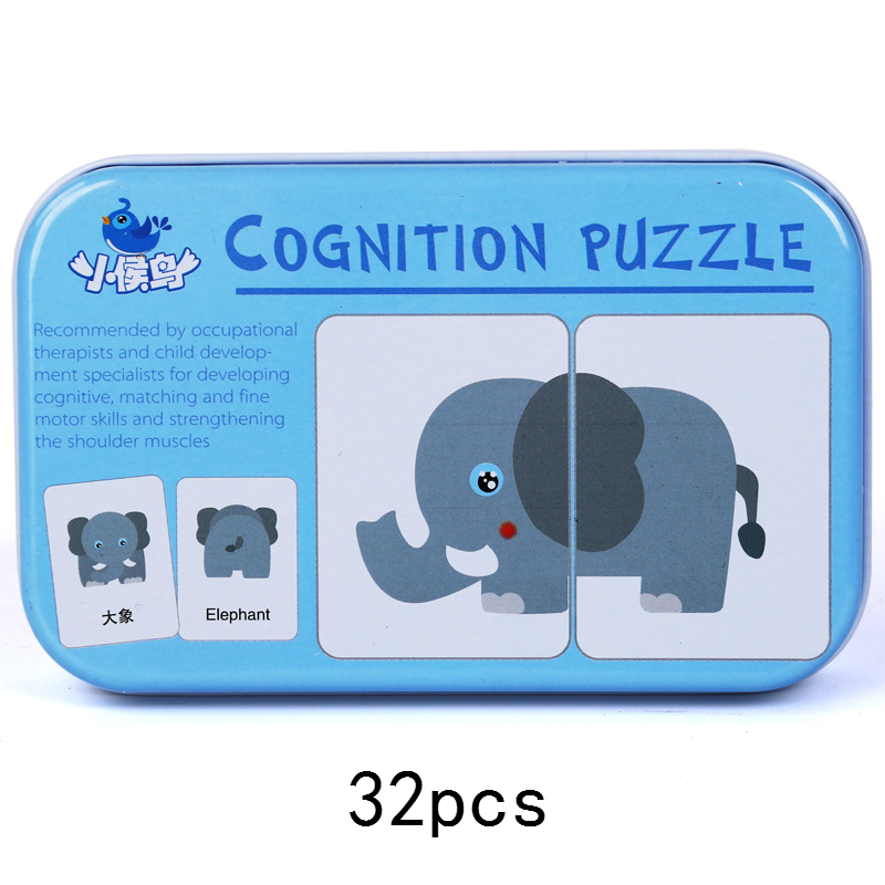 Baby Cognitive Puzzle Cards Early Educational Toys For Children  Vehicle Animal Fruit In English Learning Flashcards Toy For Kid