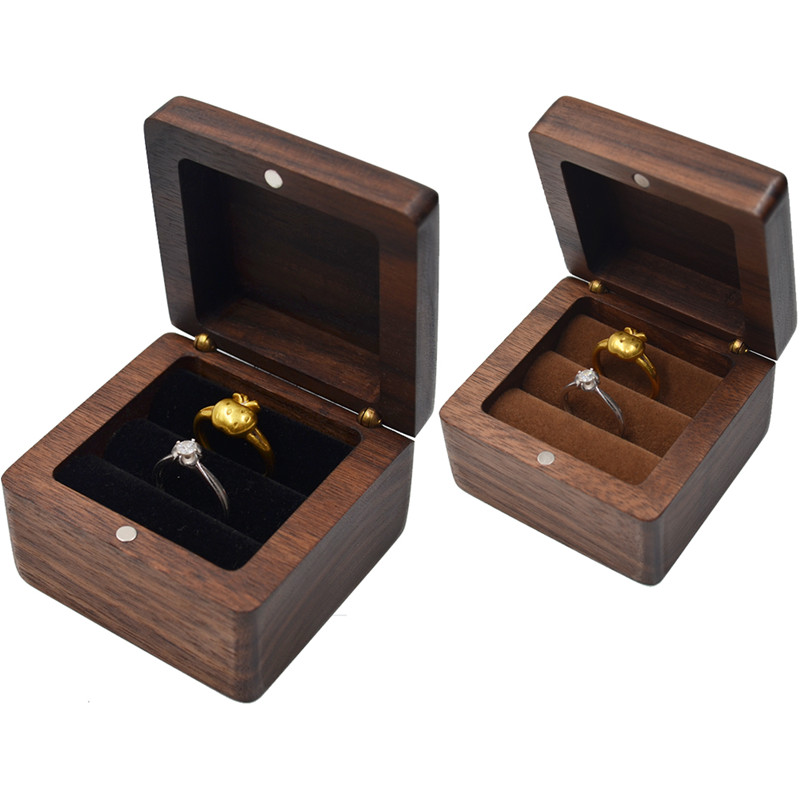 Portable mini bois en bois bijoux boîte d'affichage voyage outils caisse d'emballage boucle d'oreille anneau collier organisateur femmes petite amie cadeau