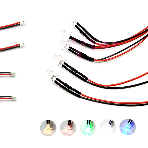 10Pcs 3V 5V 6V 9V 12V 24V 36V 48V 110V 220V Clear 8mm LED With 20cm Wire And ZH1.5 Plug, Orange, Pink, Purple