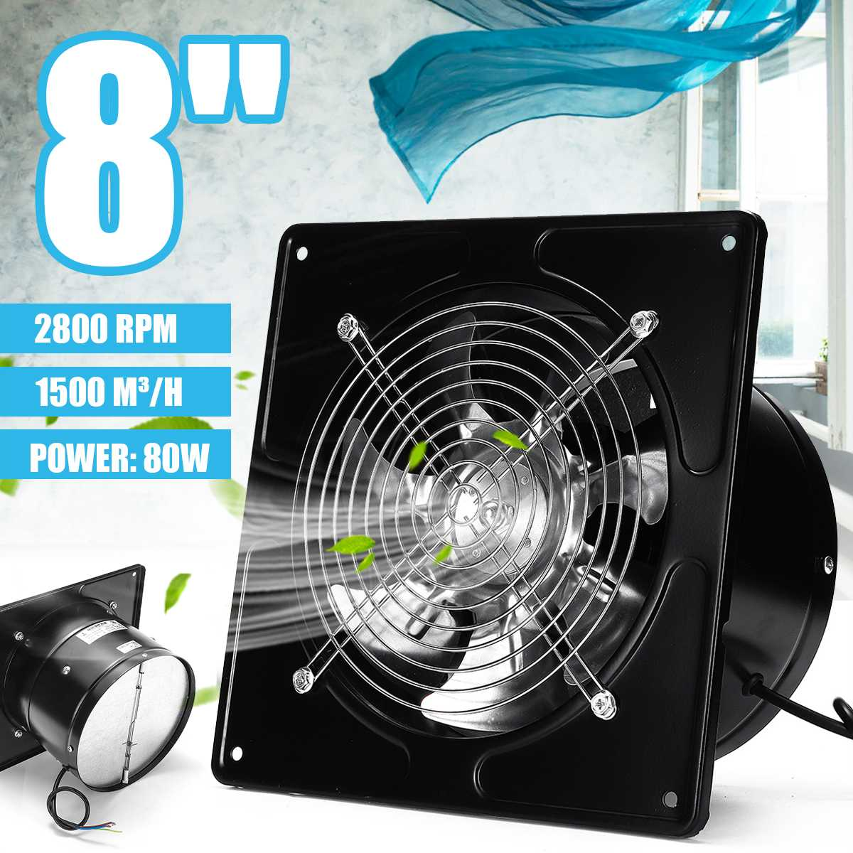 8 Inch 220V 2800rpm 80W Extractor Fan Silent Wall Extractor Industrial Ventilation Fan Toilet Bathroom Kitchen Window Air Blower