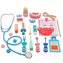 20PCS/Set Wooden Toys Funny Pretend Play Real Life Cosplay Doctor Game Toy Dentist Medicine Box For Kids