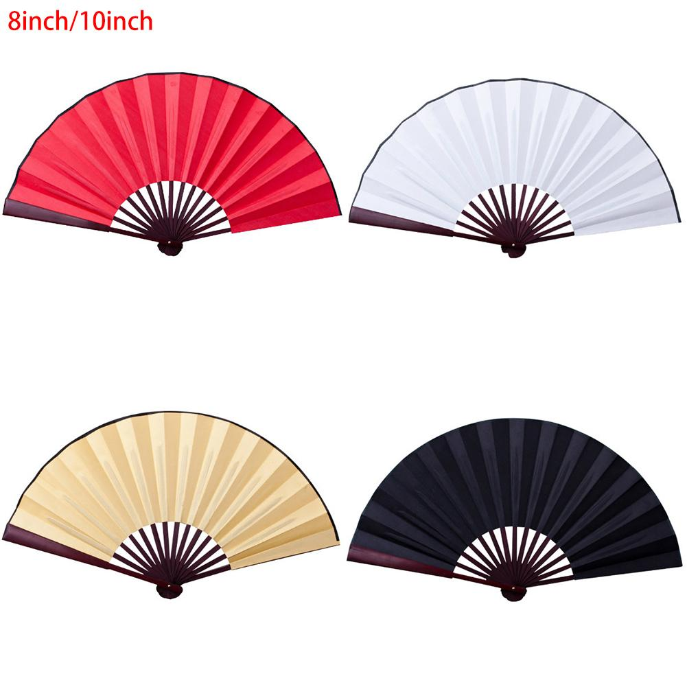 8 Inch/10 Inch Silk Cloth Blank Chinese Folding Fan Wooden Bamboo Antiquity Solid Color Fan For Free Form Calligraphy Painting